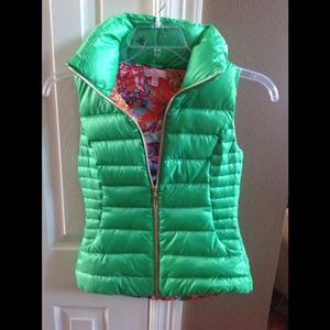 Lily Pulitzer Green Puffy Vest, XXS, FIRM PRICE